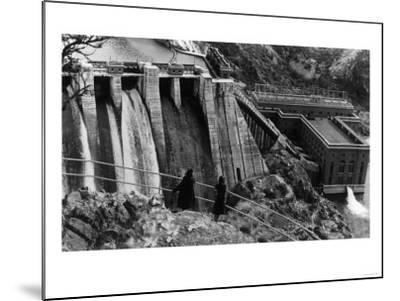 Aerial View of Long Lake Dam - Spokane, WA-Lantern Press-Mounted Art Print