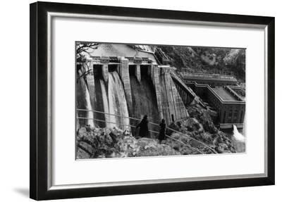 Aerial View of Long Lake Dam - Spokane, WA-Lantern Press-Framed Art Print