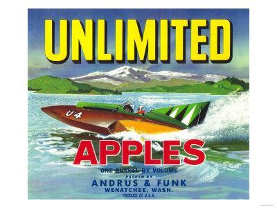 Unlimited Apple Label - Wenatchee, WA-Lantern Press-Framed Art Print