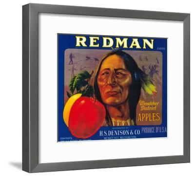 Redman Apple Label - Wenatchee, WA-Lantern Press-Framed Art Print