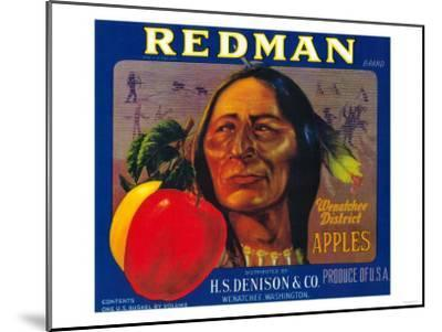 Redman Apple Label - Wenatchee, WA-Lantern Press-Mounted Art Print
