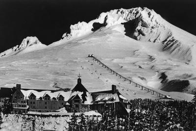 Aerial View of Timberline Lodge and Ski Lift - Mt. Hood, OR-Lantern Press-Stretched Canvas Print