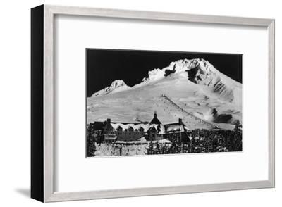 Aerial View of Timberline Lodge and Ski Lift - Mt. Hood, OR-Lantern Press-Framed Art Print