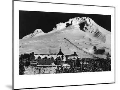 Aerial View of Timberline Lodge and Ski Lift - Mt. Hood, OR-Lantern Press-Mounted Art Print