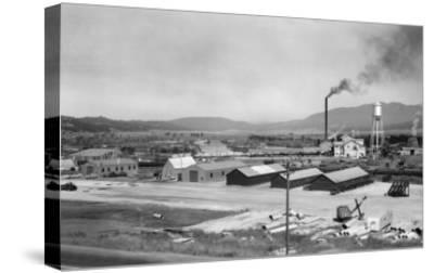 Aerial View of Lumber Mill - Cascade, ID-Lantern Press-Stretched Canvas Print