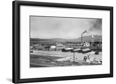 Aerial View of Lumber Mill - Cascade, ID-Lantern Press-Framed Art Print