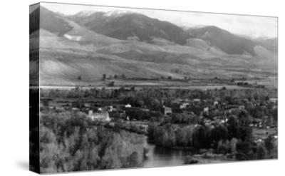 Aerial View of the Town - Salmon, ID-Lantern Press-Stretched Canvas Print