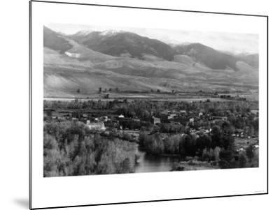 Aerial View of the Town - Salmon, ID-Lantern Press-Mounted Art Print