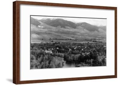Aerial View of the Town - Salmon, ID-Lantern Press-Framed Art Print