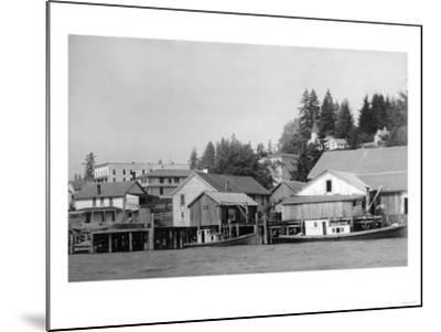 Waterfront View of the Town - Cathlamet, WA-Lantern Press-Mounted Art Print