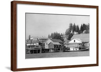 Waterfront View of the Town - Cathlamet, WA-Lantern Press-Framed Art Print