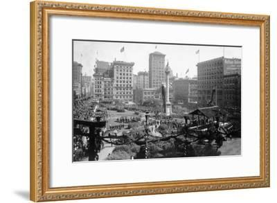 Aerial View of Portola Festivities in Union Square - San Francisco, CA-Lantern Press-Framed Art Print