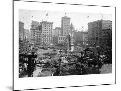 Aerial View of Portola Festivities in Union Square - San Francisco, CA-Lantern Press-Mounted Art Print