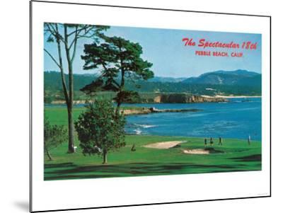 Aerial View of the 18th Green at the Golf Course - Pebble Beach, CA-Lantern Press-Mounted Art Print