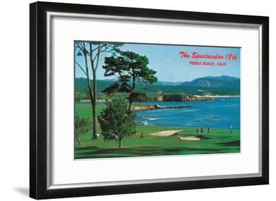 Aerial View of the 18th Green at the Golf Course - Pebble Beach, CA-Lantern Press-Framed Art Print