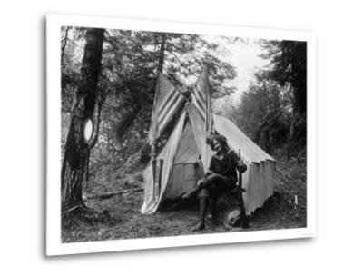 Woman with Gun Sitting Outside Her Tent Fourth of July - Thompson Creek, OR-Lantern Press-Metal Print