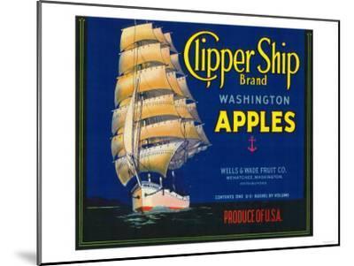 Clipper Ship Apple Label - Wenatchee, WA-Lantern Press-Mounted Art Print