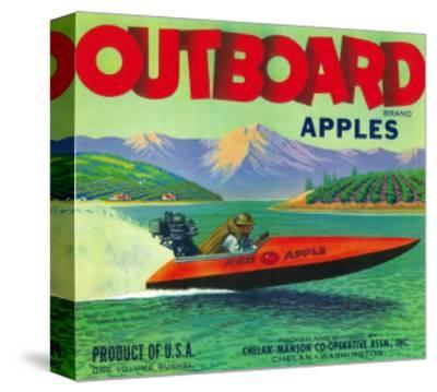 Outboard Apple Label - Chelan, WA-Lantern Press-Stretched Canvas Print