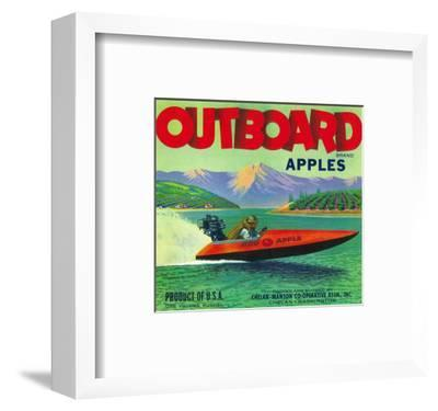 Outboard Apple Label - Chelan, WA-Lantern Press-Framed Art Print