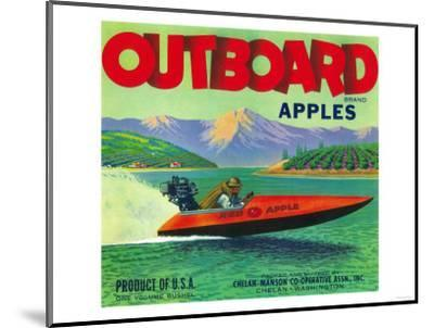 Outboard Apple Label - Chelan, WA-Lantern Press-Mounted Art Print