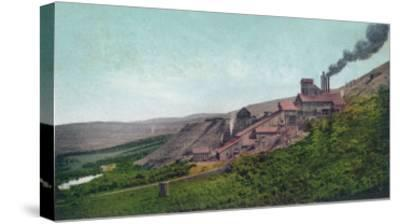 Aerial View of the Virtue Mine - Baker City, OR-Lantern Press-Stretched Canvas Print