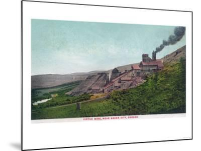 Aerial View of the Virtue Mine - Baker City, OR-Lantern Press-Mounted Art Print