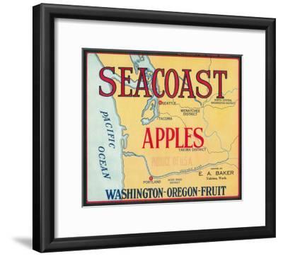 Sea Coast Apple Label - Yakima, WA-Lantern Press-Framed Art Print