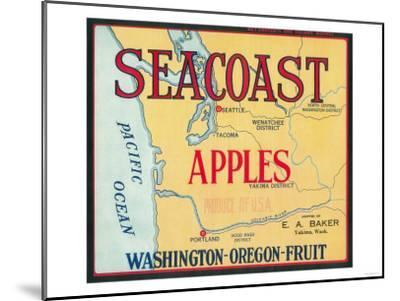 Sea Coast Apple Label - Yakima, WA-Lantern Press-Mounted Art Print