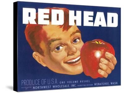 Red Head Apple Label - Wenatchee, WA-Lantern Press-Stretched Canvas Print