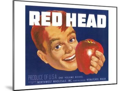 Red Head Apple Label - Wenatchee, WA-Lantern Press-Mounted Art Print