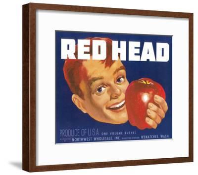 Red Head Apple Label - Wenatchee, WA-Lantern Press-Framed Art Print