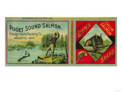 Lynx Salmon Can Label - Anacortes, WA-Lantern Press-Framed Art Print