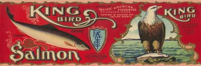King Bird Salmon Can Label - Bellingham, WA-Lantern Press-Stretched Canvas Print