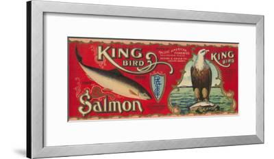 King Bird Salmon Can Label - Bellingham, WA-Lantern Press-Framed Art Print