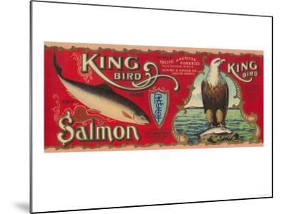 King Bird Salmon Can Label - Bellingham, WA-Lantern Press-Mounted Art Print