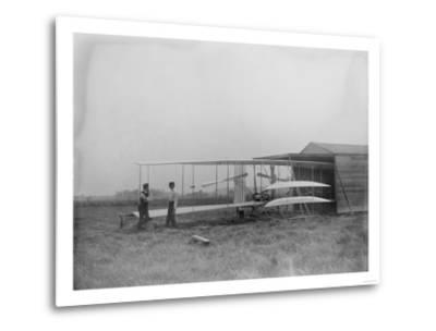 Wilbur & Orville Wright in 2nd powered machine Photograph - Dayton, OH-Lantern Press-Metal Print