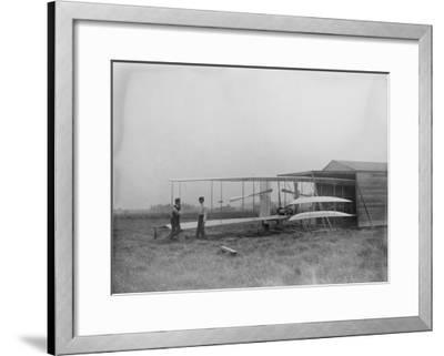 Wilbur & Orville Wright in 2nd powered machine Photograph - Dayton, OH-Lantern Press-Framed Art Print