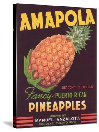 Amapola Pineapple Label - Corozal, PR-Lantern Press-Stretched Canvas Print