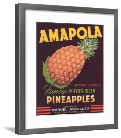 Amapola Pineapple Label - Corozal, PR-Lantern Press-Framed Art Print