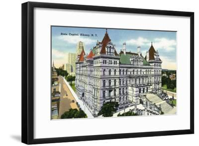 Albany, New York - Exterior View of the State Capitol Building No. 2-Lantern Press-Framed Art Print