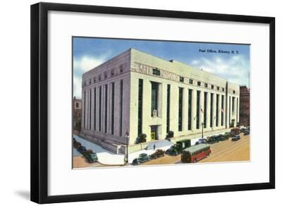 Albany, New York - Exterior View of the Post Office No. 2-Lantern Press-Framed Art Print