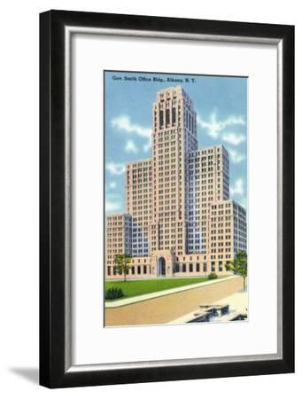 Albany, New York - Exterior View of the Gov Smith Office Building-Lantern Press-Framed Art Print
