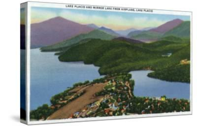 Adirondack Mts, New York - Aerial View of Lakes Placid and Mirror-Lantern Press-Stretched Canvas Print