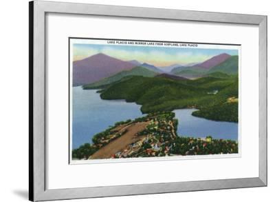 Adirondack Mts, New York - Aerial View of Lakes Placid and Mirror-Lantern Press-Framed Art Print