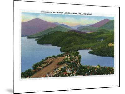 Adirondack Mts, New York - Aerial View of Lakes Placid and Mirror-Lantern Press-Mounted Art Print