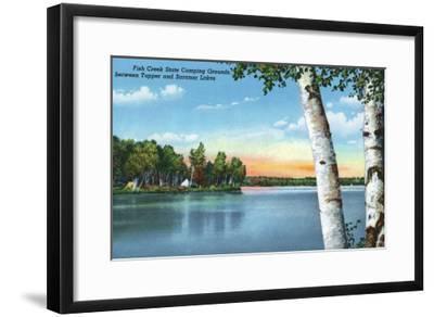 Adirondack Mts, New York - View of Fish Creek State Camping Grounds-Lantern Press-Framed Art Print
