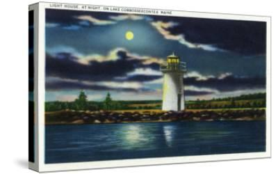 Augusta, Maine - View of Lake Cobbosseecontee Lighthouse at Night-Lantern Press-Stretched Canvas Print