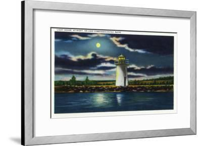 Augusta, Maine - View of Lake Cobbosseecontee Lighthouse at Night-Lantern Press-Framed Art Print