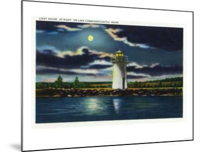 Augusta, Maine - View of Lake Cobbosseecontee Lighthouse at Night-Lantern Press-Mounted Art Print