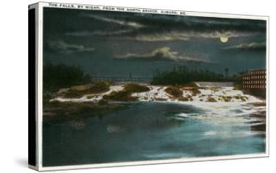 Auburn, Maine - North Bridge View of the Falls at Night-Lantern Press-Stretched Canvas Print